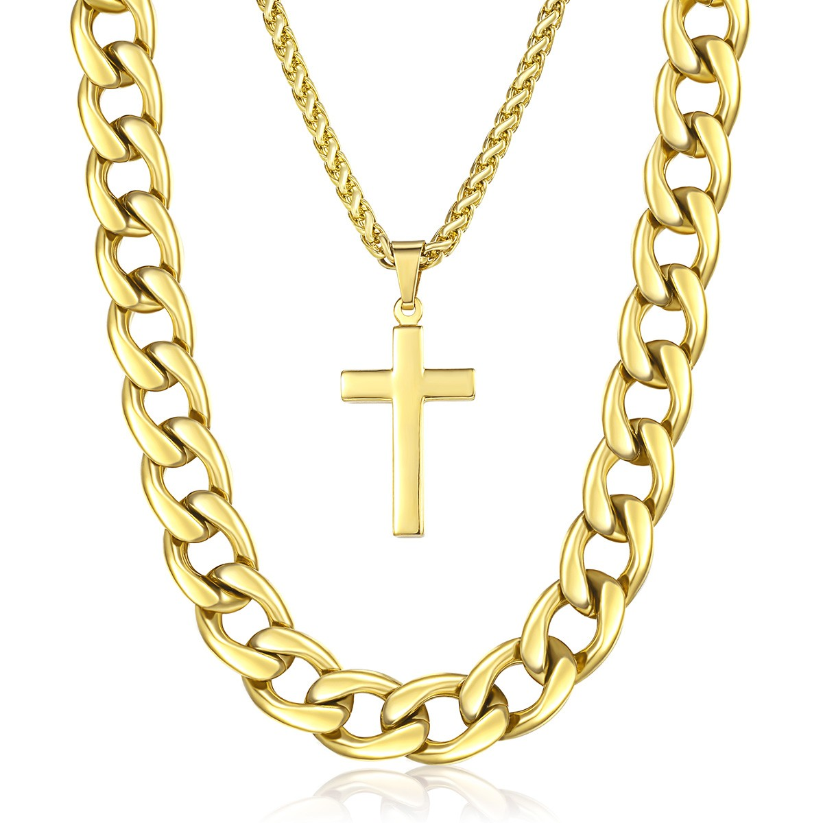Cross pendant necklace mens double chain stainless steel curb wheat image is loading cross pendant necklace mens double chain stainless steel aloadofball Image collections