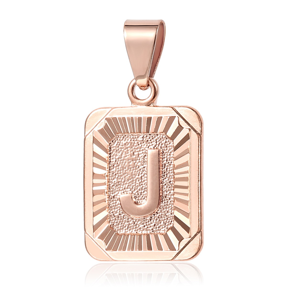 Trendsmax Square Capital Initial Letter A-Z Charm Pendant Necklace for Men Women Chain Rose Gold Filled Box Link bpRP65ytG1