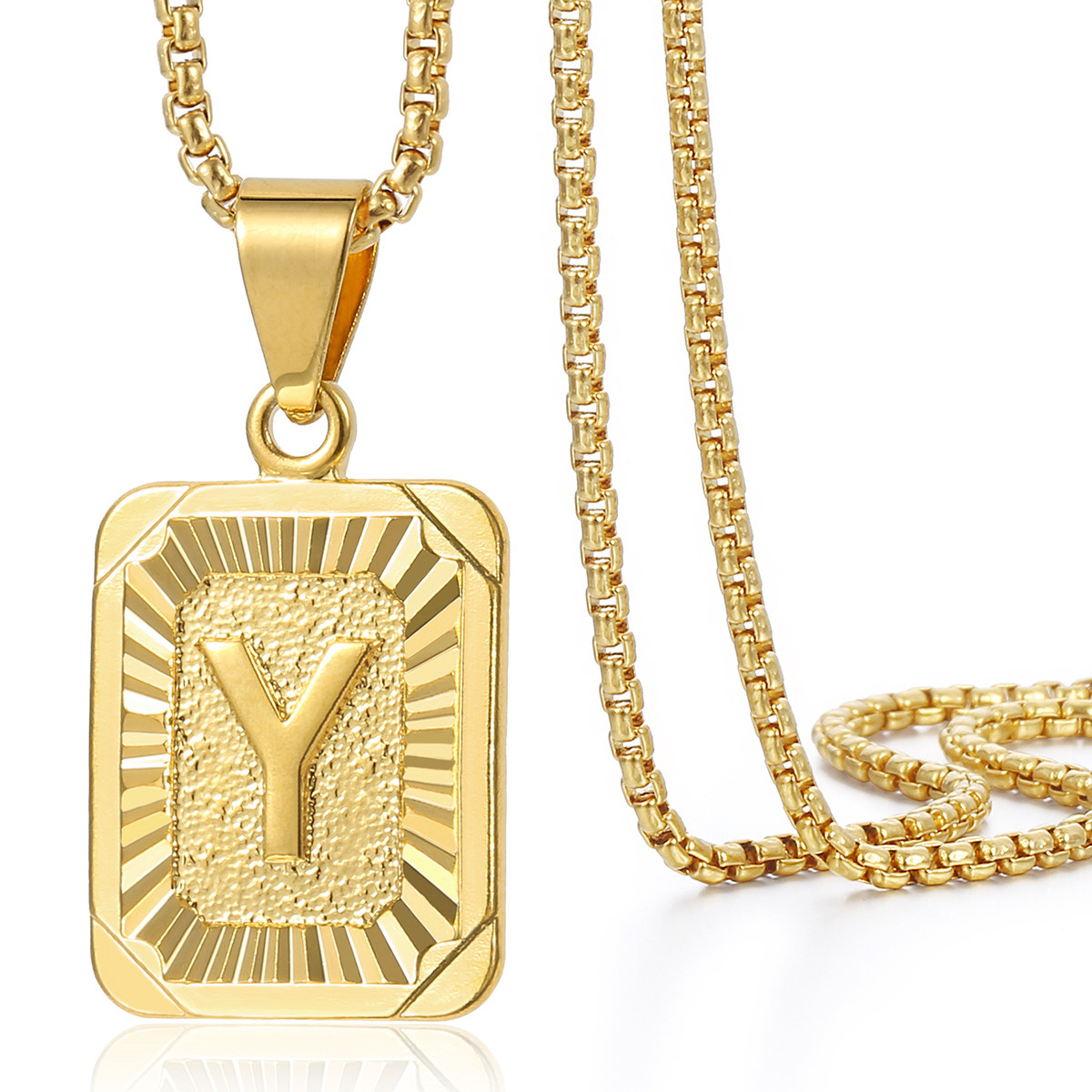 Mens women chain gold plated pendant necklace square initial letter mens women chain gold plated pendant necklace square aloadofball Images