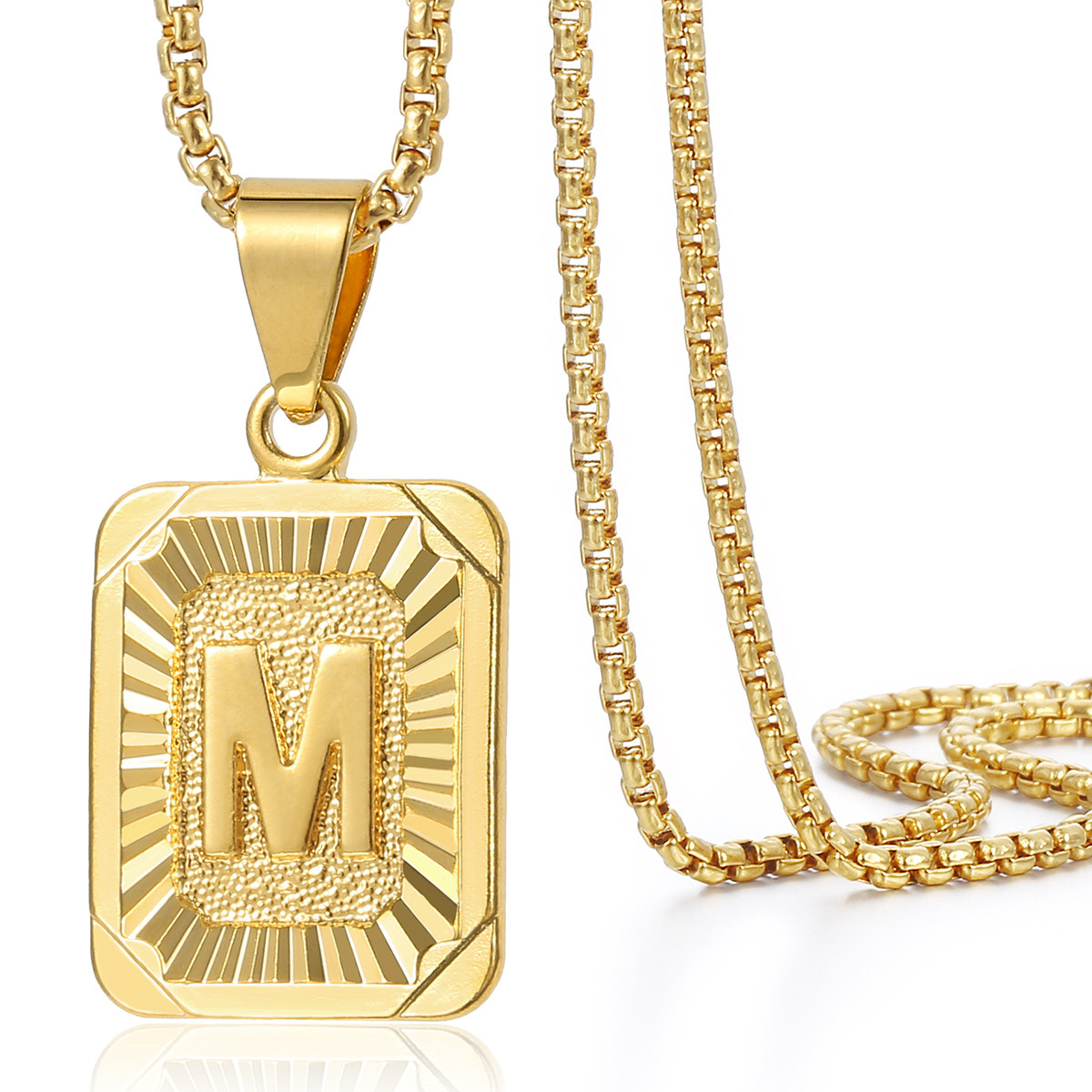gold pendant box link plated initial chain mens women letter square necklace a z itm