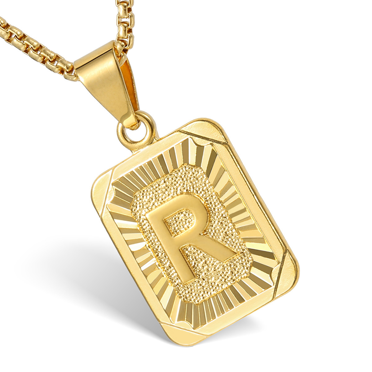 Mens women chain pendant necklace gold filled square initial letter material gold filled aloadofball