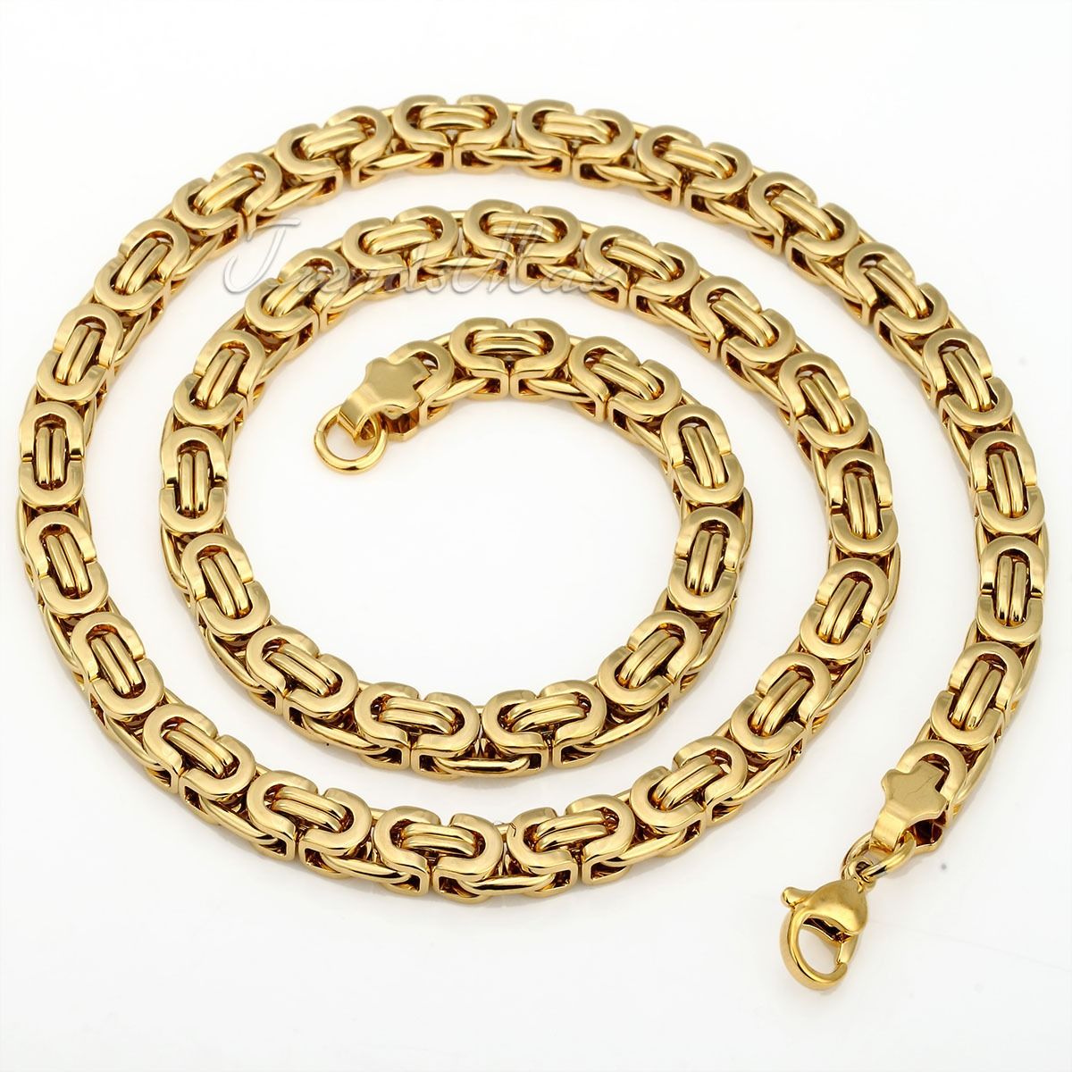 Mens Gold Byzantine Necklace: Mens Stainless Steel 6-11mm Black Gold Silver Flat