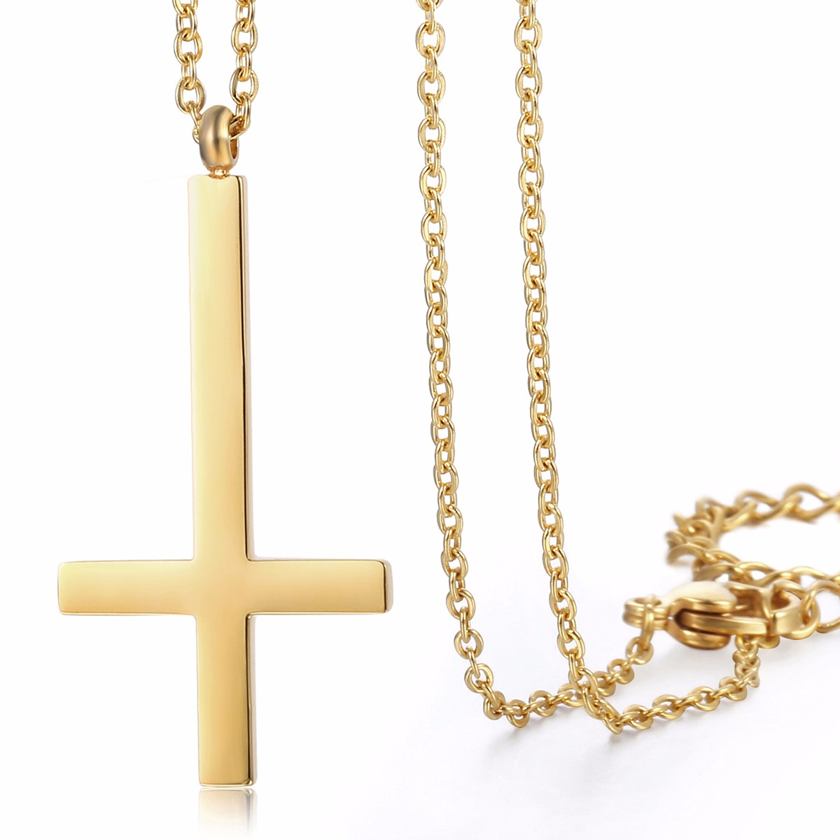 Lady womens chain gold silver stainless steel upside down cross lady womens chain gold silver stainless steel upside buycottarizona