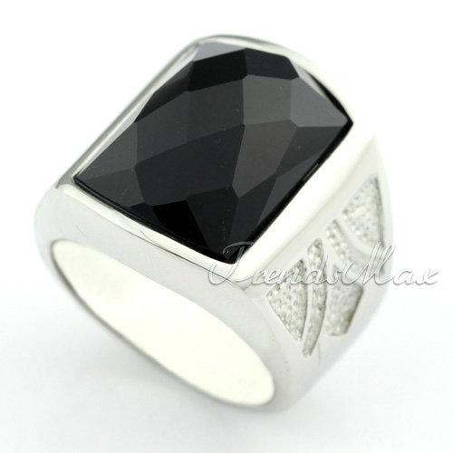 Mens Black Agate Engraved 316L Stainless Steel Ring KR01