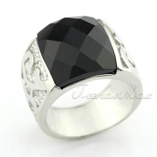 Mens Black Agate Engraved 316L Stainless Steel Ring KR02
