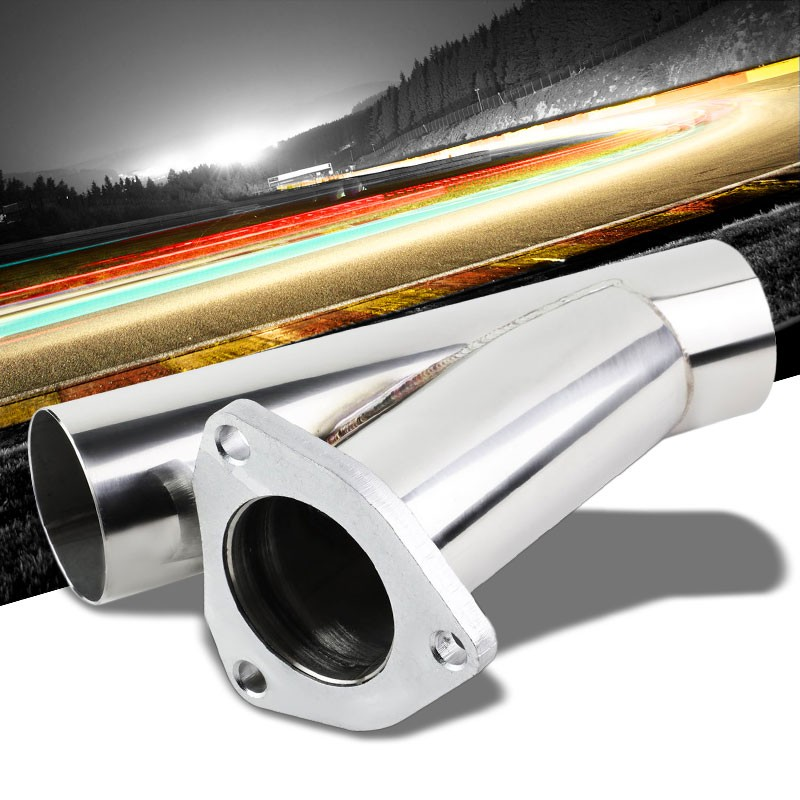"2.25/"" STAINLESS RACING CUTOFF 3-BOLT FLANGE 30-DEGREE CATBACK EXHAUST DOWN PIPE"