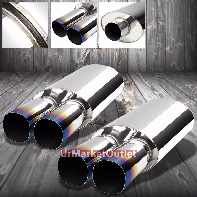 "2X 2.5/""INLET 3/""DUAL SQUARE BURNT TIP T304 STAINLESS RACING OVAL EXHAUST MUFFLER"