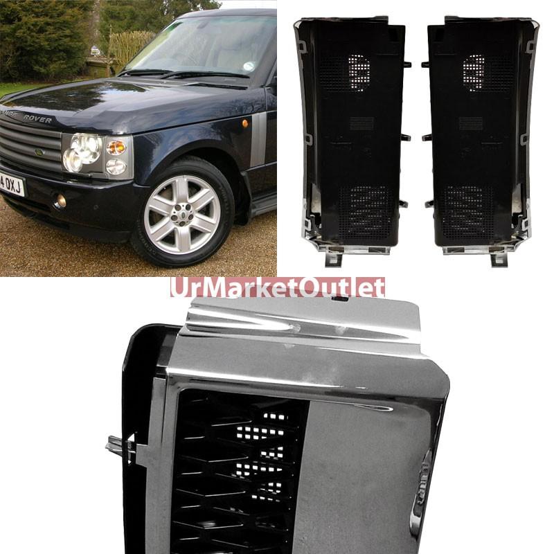 Chrome Body//Black Fender Style Side Vent Grille For 03-12 Range Rover V8 DOHC