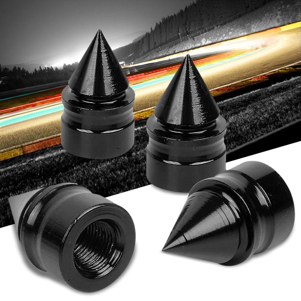 4× Spike Cone Aluminum Tire Rim Valve Wheel Air Port Dust Cover Stem Cap Black