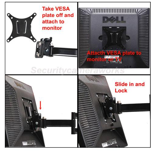 Articulating Swivel Tilt LCD LED TV Monitor Wall Mount 15 19 21 22 23 26 27 BM2