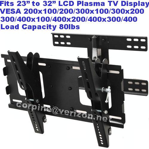 Articulating Plasma LCD Flat Screen Panel Tilt Swivel TV Wall Mount Bracket B17