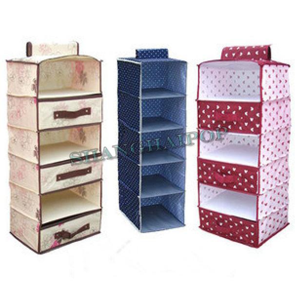 Hanging Storage Shelf Wardrobe Drawer Organiser Stackable