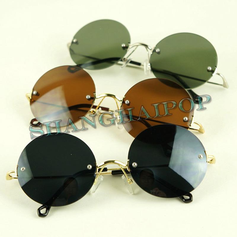 ronde lunettes de soleil sans cadre hippie sunnies shades r tro ozzy lennon 60 39 s ebay. Black Bedroom Furniture Sets. Home Design Ideas