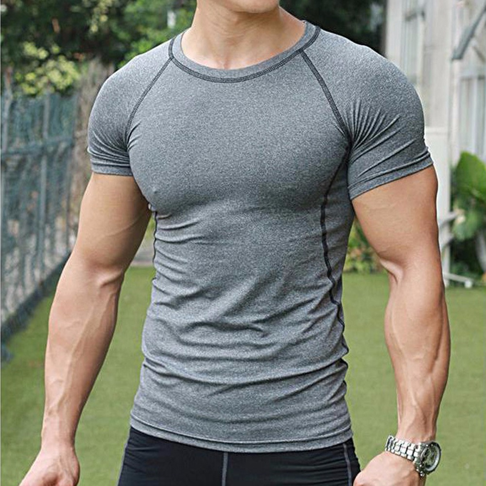 Men s Compression Base T shirt Layer Gym Short Sleeve Under Skin ... 0973370d07e3