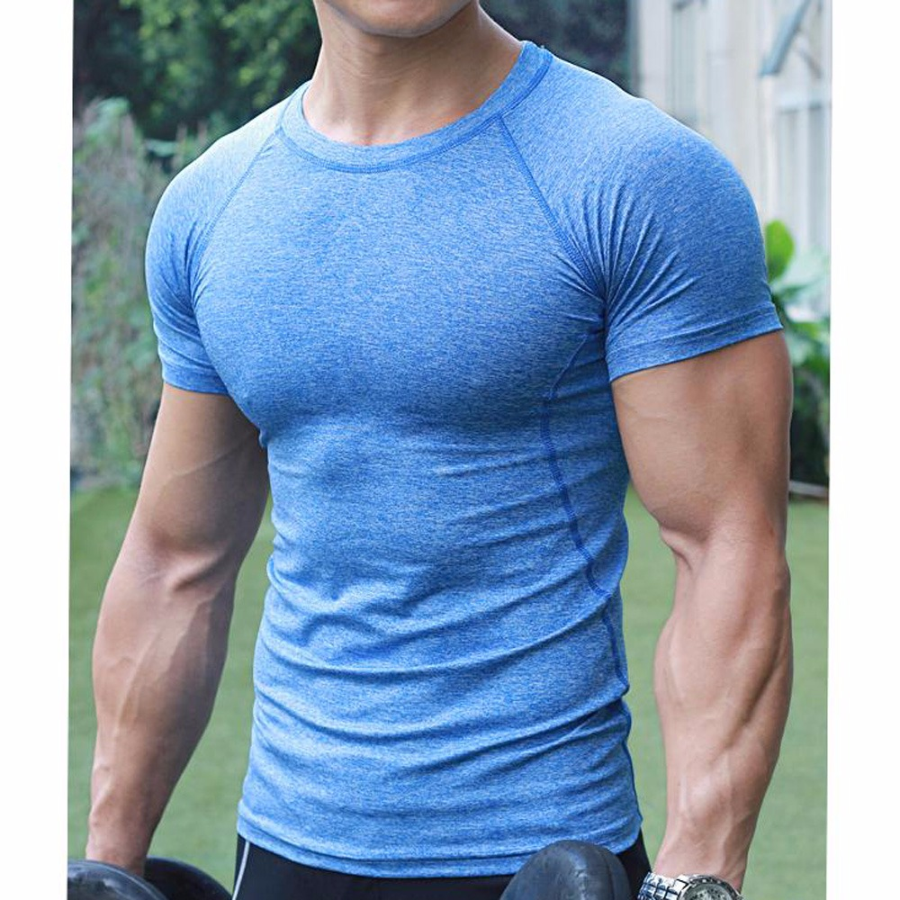 Men S Compression Base T Shirt Layer Gym Short Sleeve