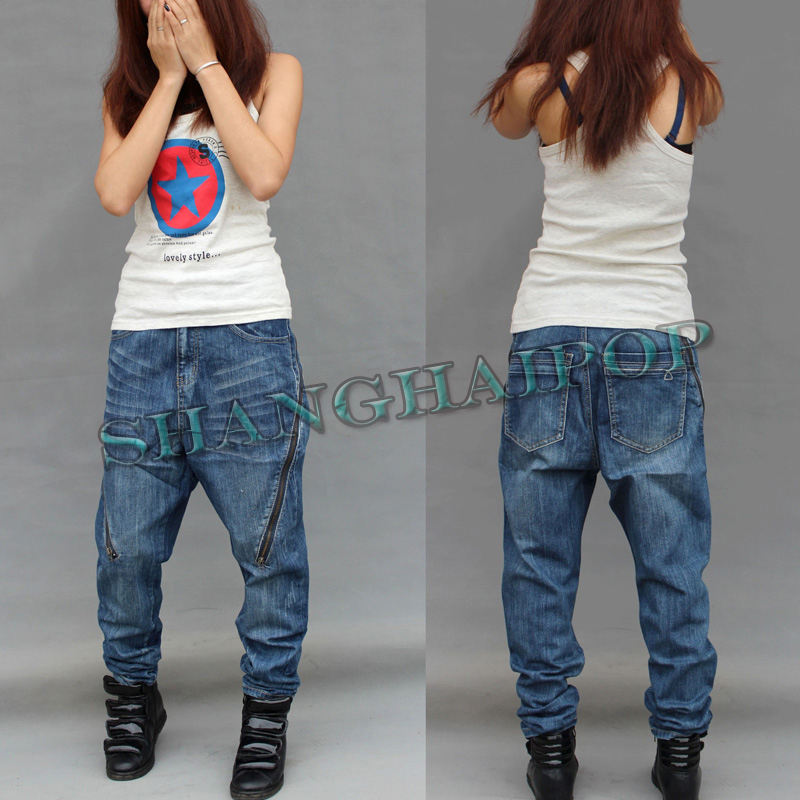 Women Zip Denim Jeans Drop Crotch Trousers Harem Baggy ...