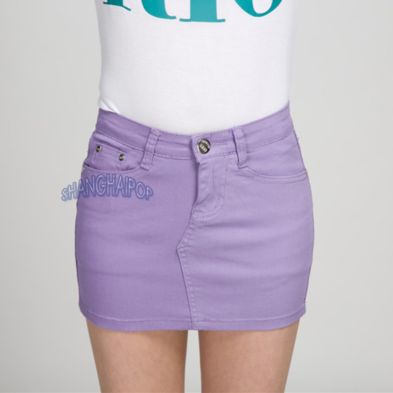 d4619c4890 Image is loading Lady-Denim-Mini-Skirt-Candy-Color-Micro-Bodycon-