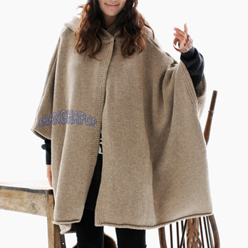 dcd0516299369a Image is loading Women-Hooded-Cape-Cardigan-Poncho-Oversized-Hoodie-Cable-