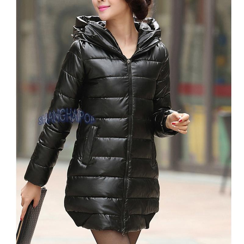 d0965fac83249 Women Faux Leather Puffer Coat Jacket Hooded Parka Winter Outerwear ...