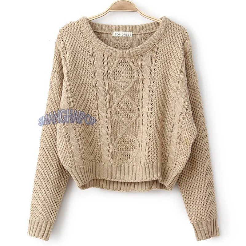 Loose Cropped Sweater Women Cable Knit Raglan Sleeve ...