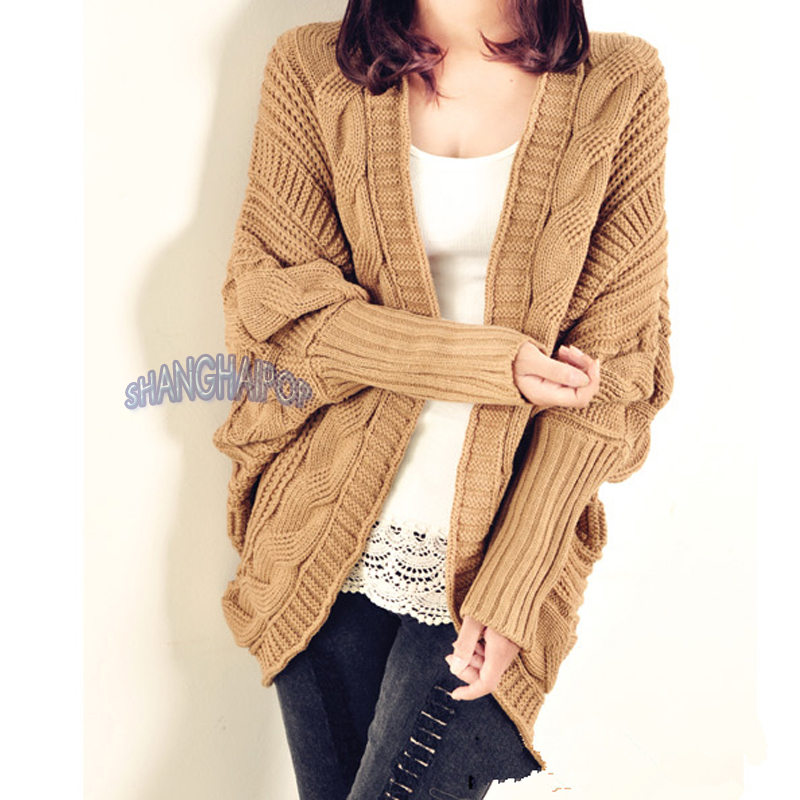 Women/Ladies Cable Knit Cardigan Chunky Open Cape Batwing ...