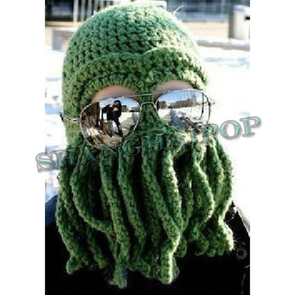 Hot Octopus Wool Ski Hat Winter Knitted Beanie Cthulhu Mask Squid ... 0f37b1ef959