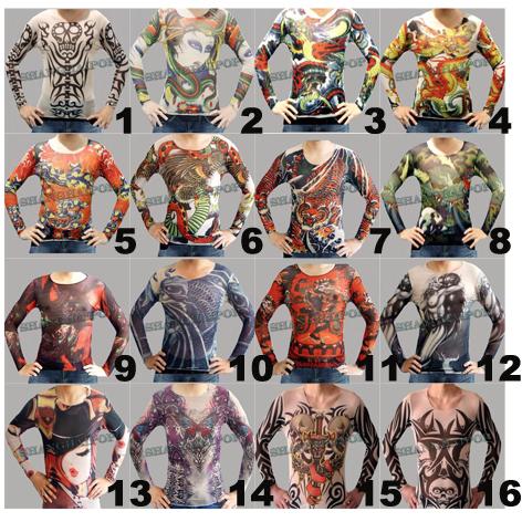 20f1f58ed A imagem está carregando Falsa-tatuagem-Camiseta -Manga-Longa-Corpo-Superior-Stretch-