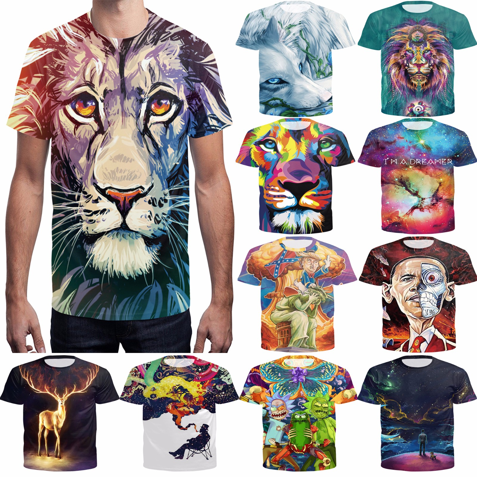 a8f4738887ce Men's 3D Print Animal T-shirts Fitness Short Sleeve shirts Casual Tops Tee