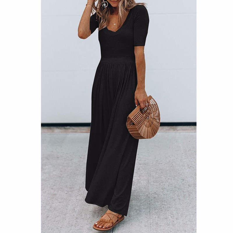 Women-039-s-Holiday-Maxi-Short-Sleeve-Jumpsuits-Ladies-Summer-Fashion-Rompers-Dress thumbnail 13
