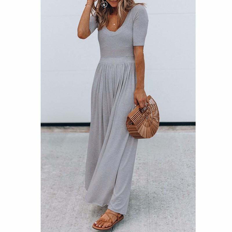 Women-039-s-Holiday-Maxi-Short-Sleeve-Jumpsuits-Ladies-Summer-Fashion-Rompers-Dress thumbnail 16