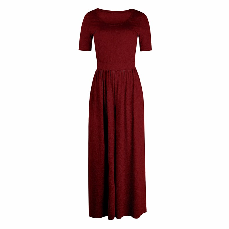 Women-039-s-Holiday-Maxi-Short-Sleeve-Jumpsuits-Ladies-Summer-Fashion-Rompers-Dress thumbnail 26