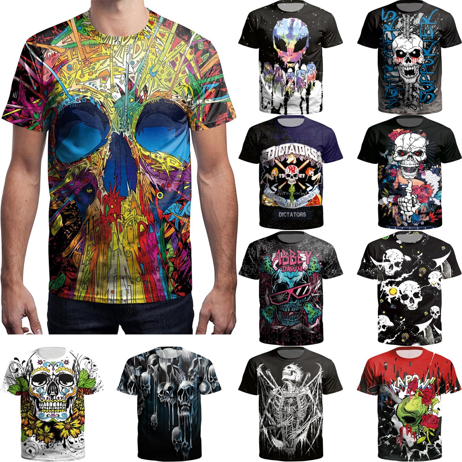 Fashion Mens 3d Printed Rose Skull T Shirts Funny Casual Short