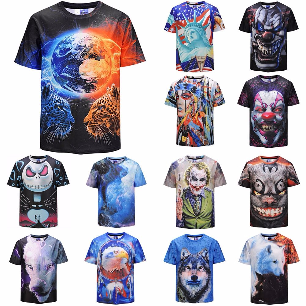 4f6db66e5429 Details about Men's 3D Animal Clown Printed T-shirt Short Sleeve Funny Tee  Fashion Casual Tops