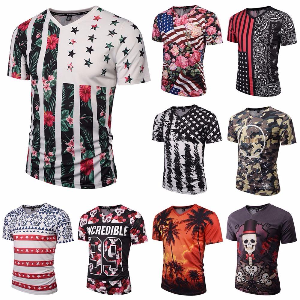 Flower Men 3d Printed T Shirts V Neck Short Sleeve Funny Tee Fashion
