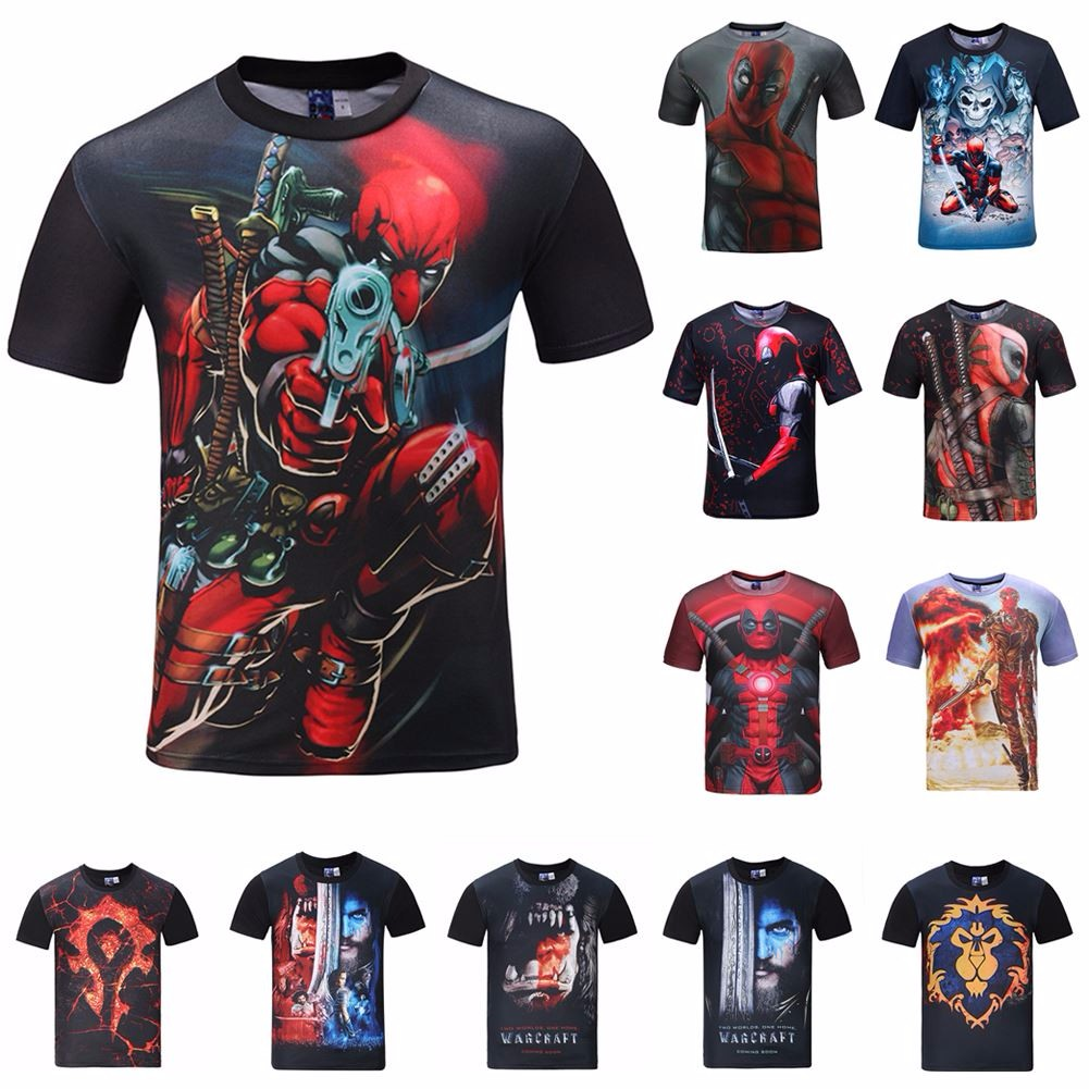 daff9bde66dc Men s 3D Anime Deadpool Printed T-shirts Short Sleeve Funny Tee New Casual  Tops