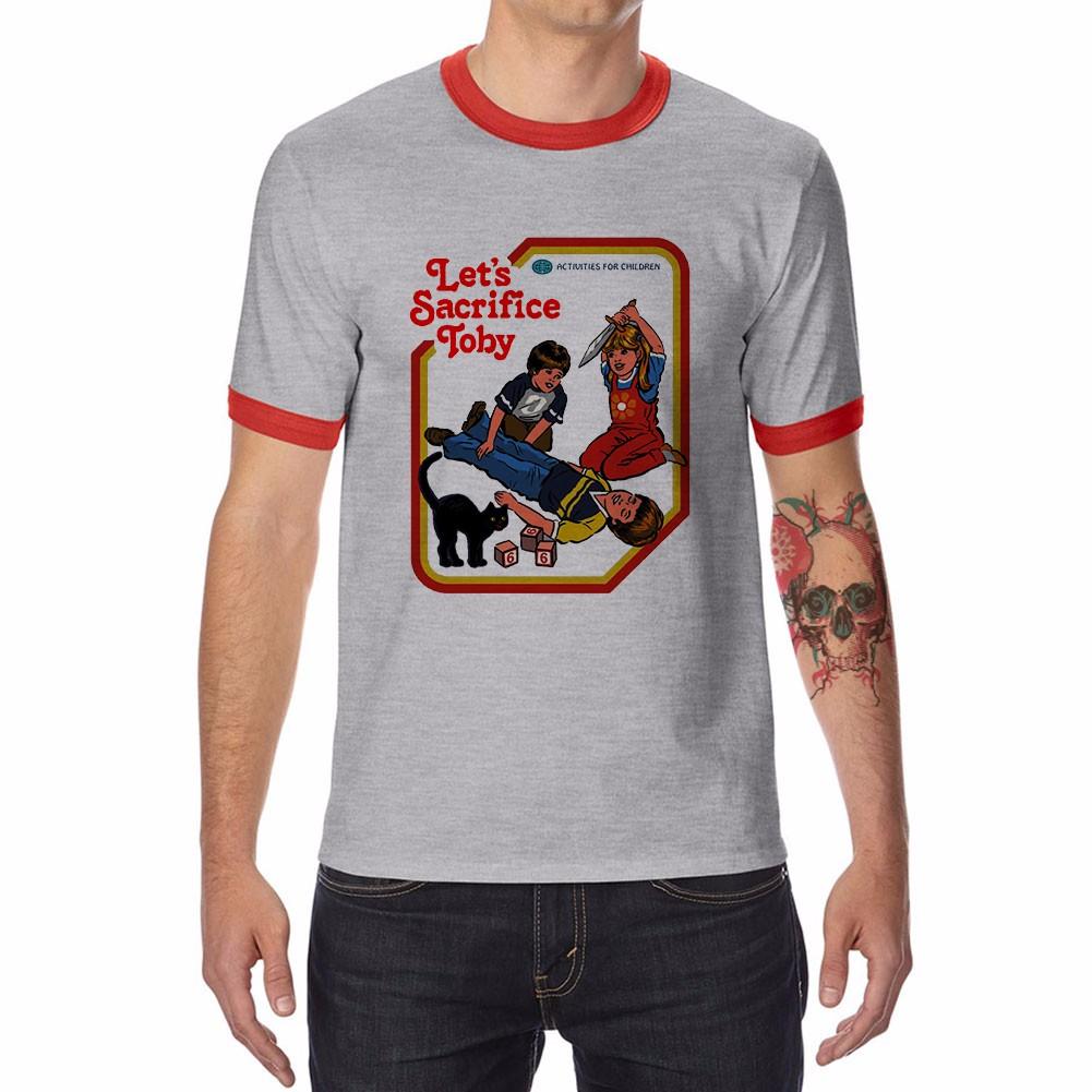 cd2c02afbb2 Let s Sacrifice Toby Funny Ringer T-shirts Men s Cotton Raglan Short Sleeve  Tops