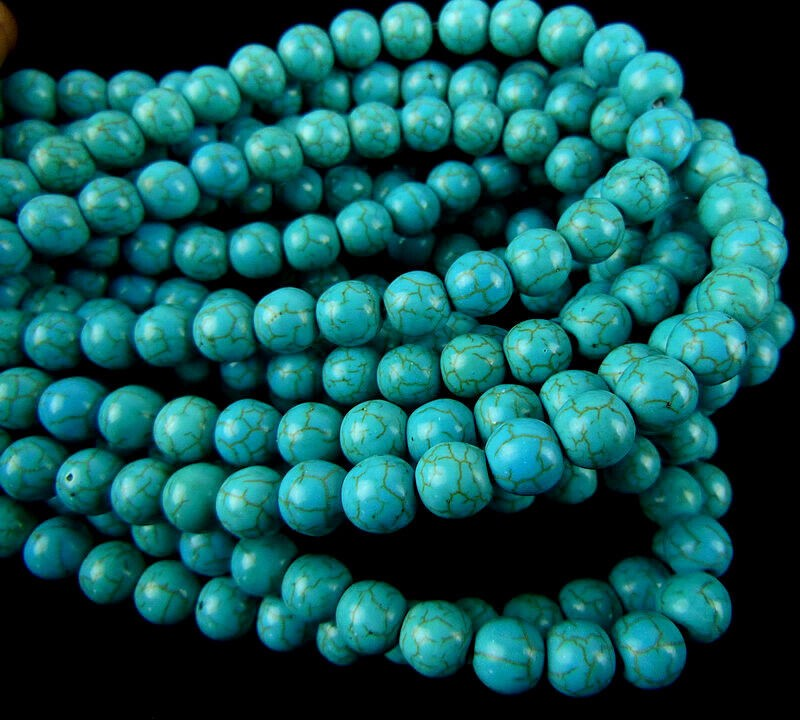 FZ013 Wholesale blue turquise round 6mm loose beads DIY bead 15.5inch