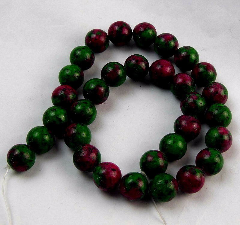 "4mm 6mm 8mm 10mm 12mm Red Green Ruby Zoisite Round Loose Beads 15/"" Strand  AA"
