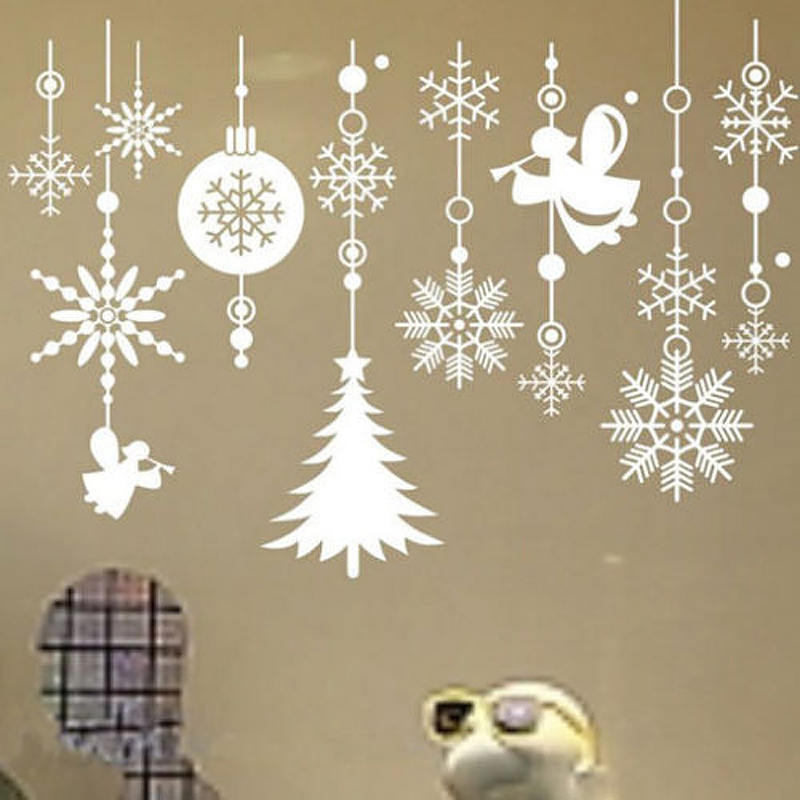Wall Decoration For Christmas: Removable Christmas Snowflake String Vinyl Wall Stickers