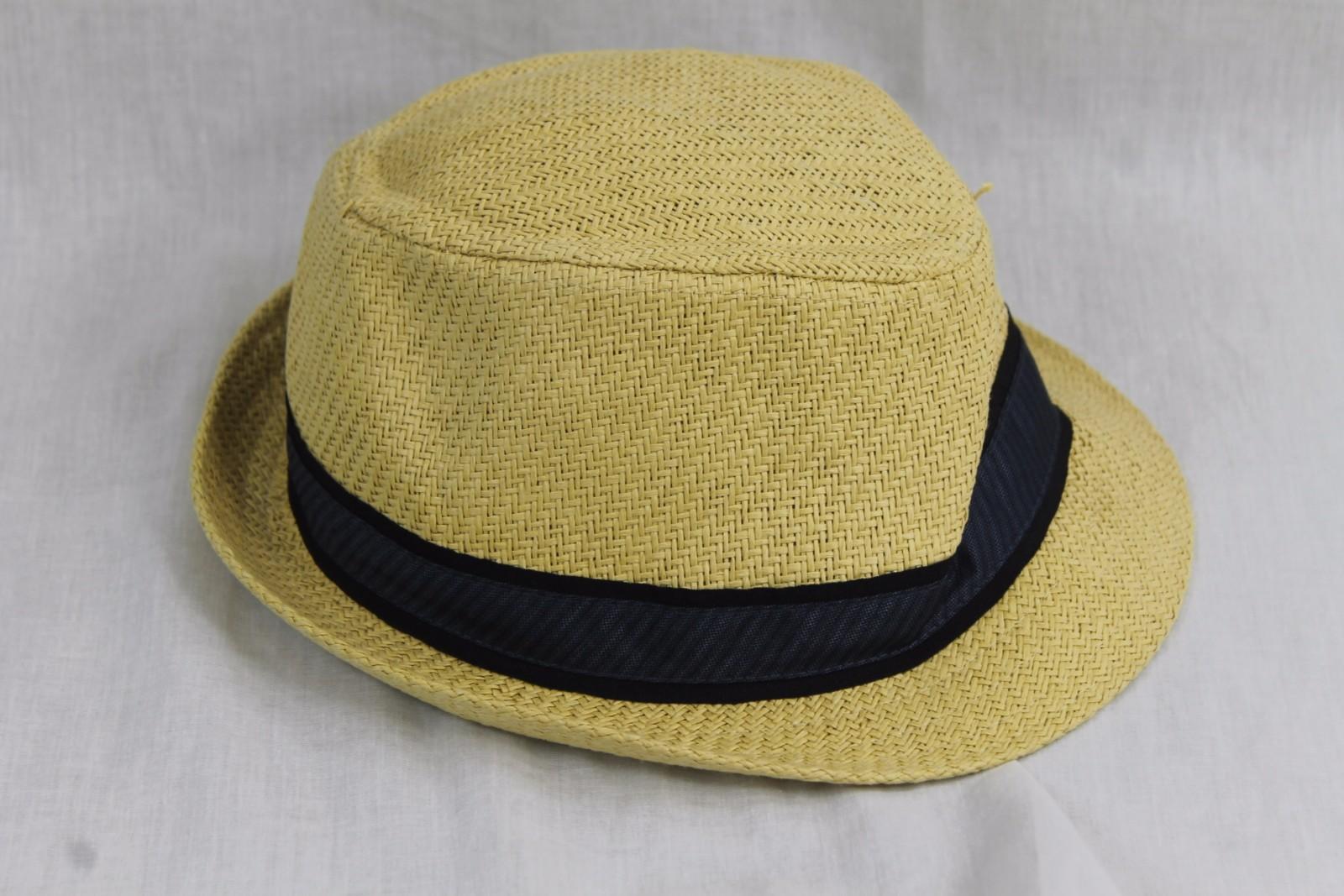 02c7e5894ceda Mens Sean John Blue Strap Straw Fedora Hat Medium   Large Brand New ...