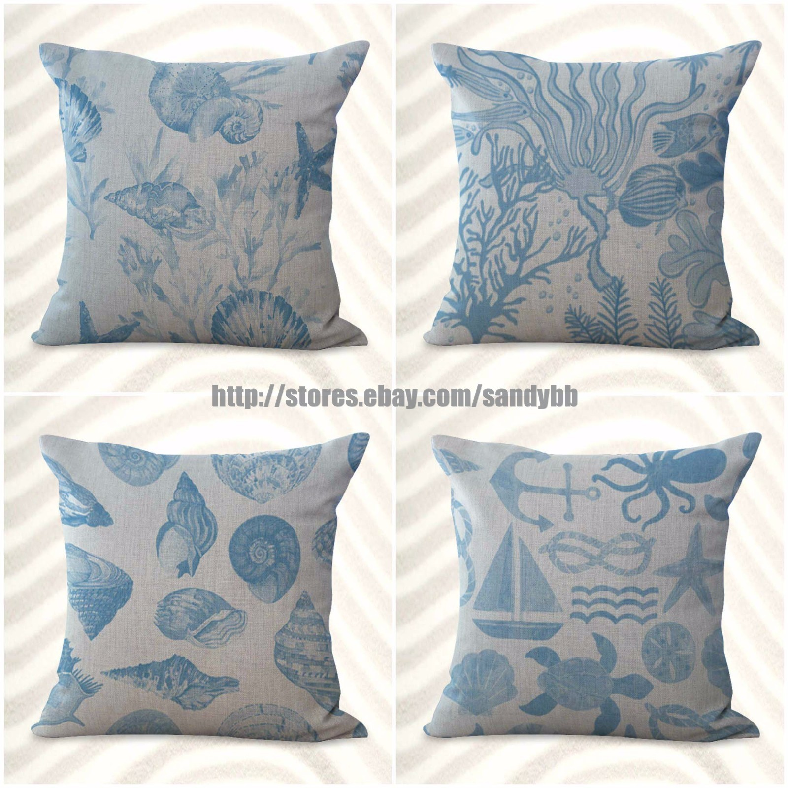 US SELLER sealife marine nautical turtle ocean animal cushion cover decorative
