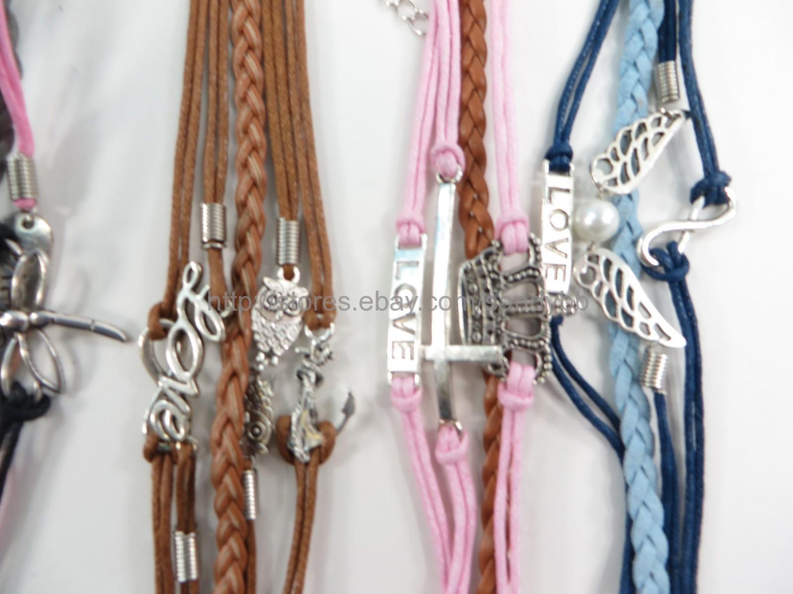 $0.75 each 100 pcs infinity charm bracelet wholesale jewelry lot