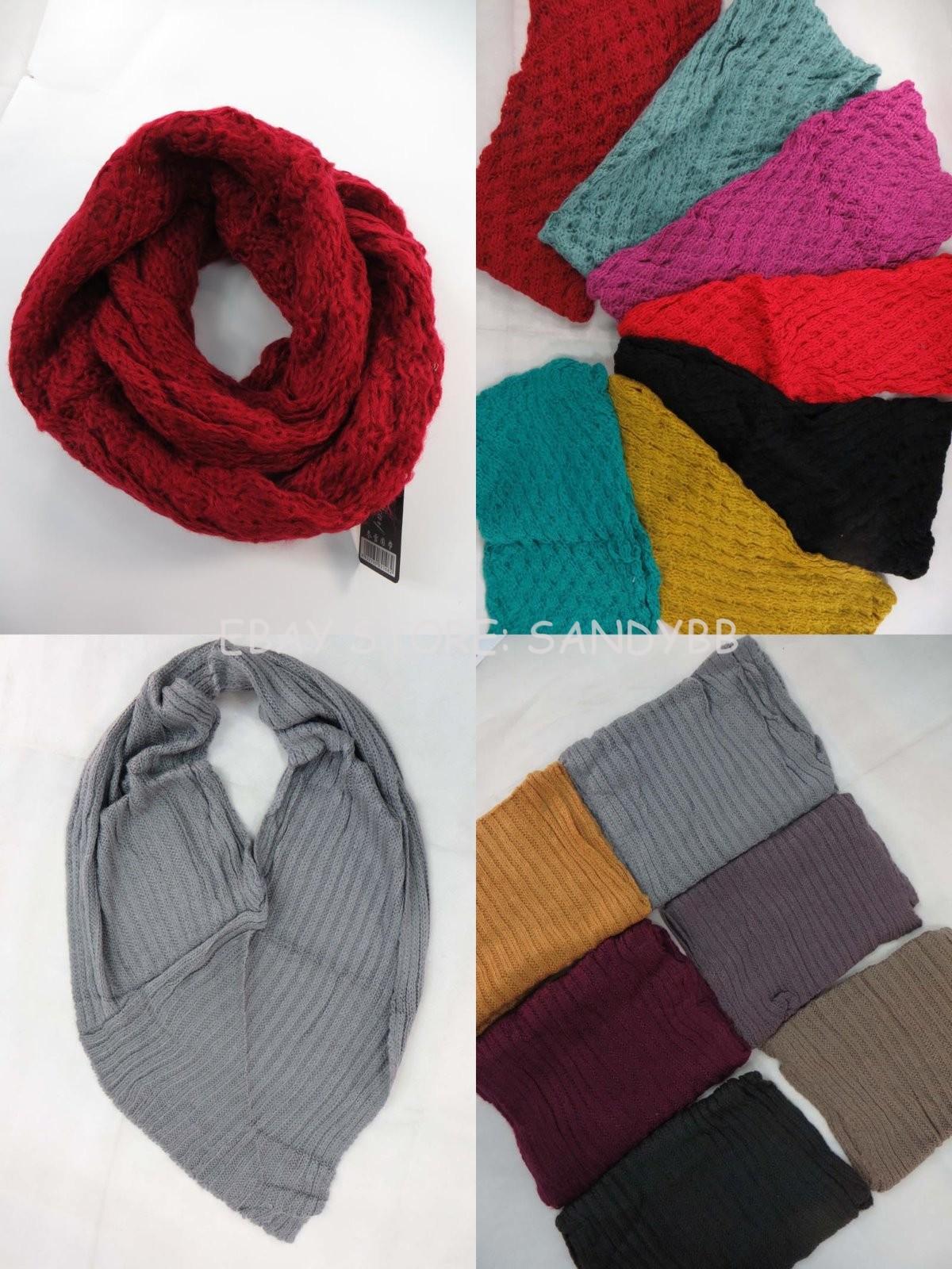 US SELLER-lot of 4 double loop knit infinity scarf wholesale winter neckwarmer