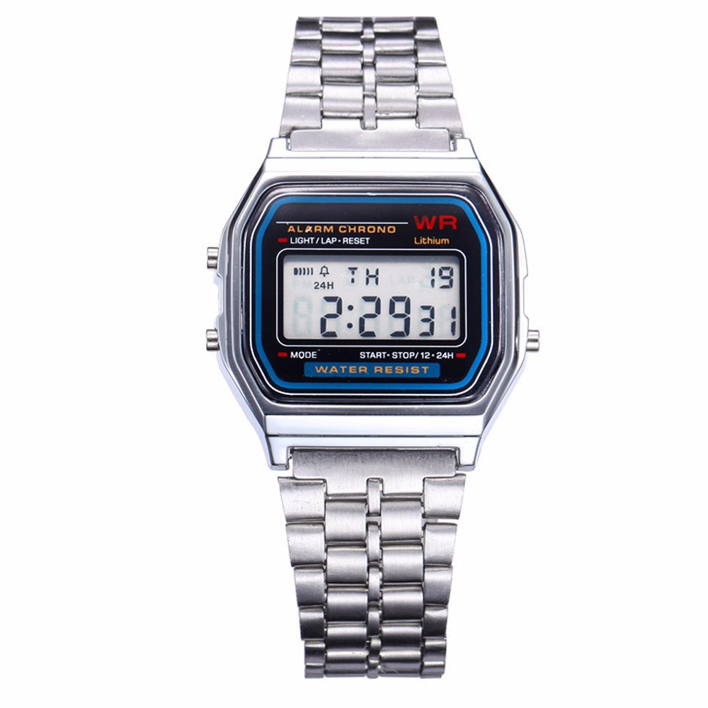 1ec597907a4d Hombre De Mujer Acero Inoxidable Informal Reloj Moda Digital Empresa ...