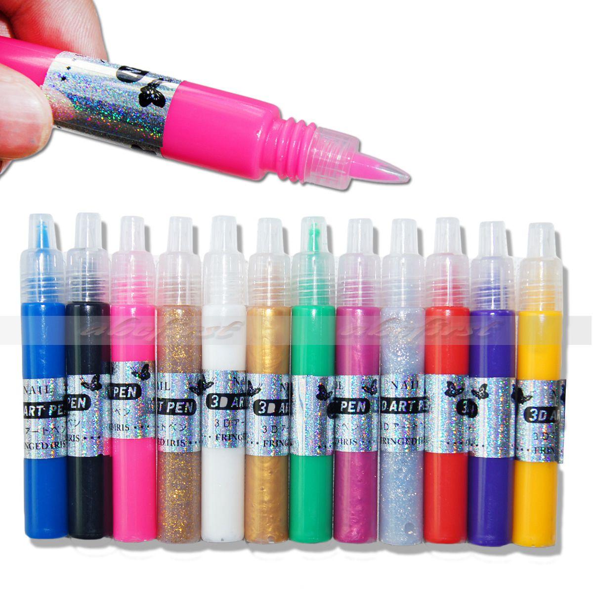 12 Colors Nail Art Polish 3D Paint Pen UV Gel Acrylic
