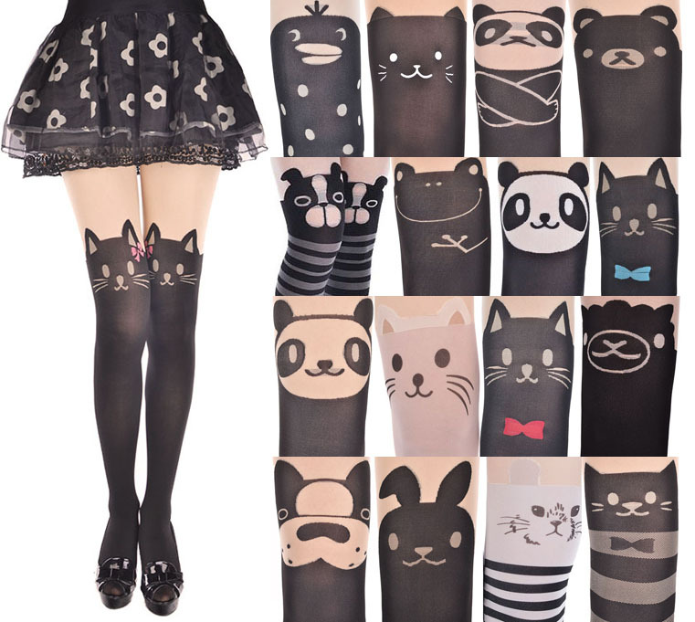 745214817d000 Japan Women Cute Cartoon Animal Mock Knee High Tattoo Stocking ...