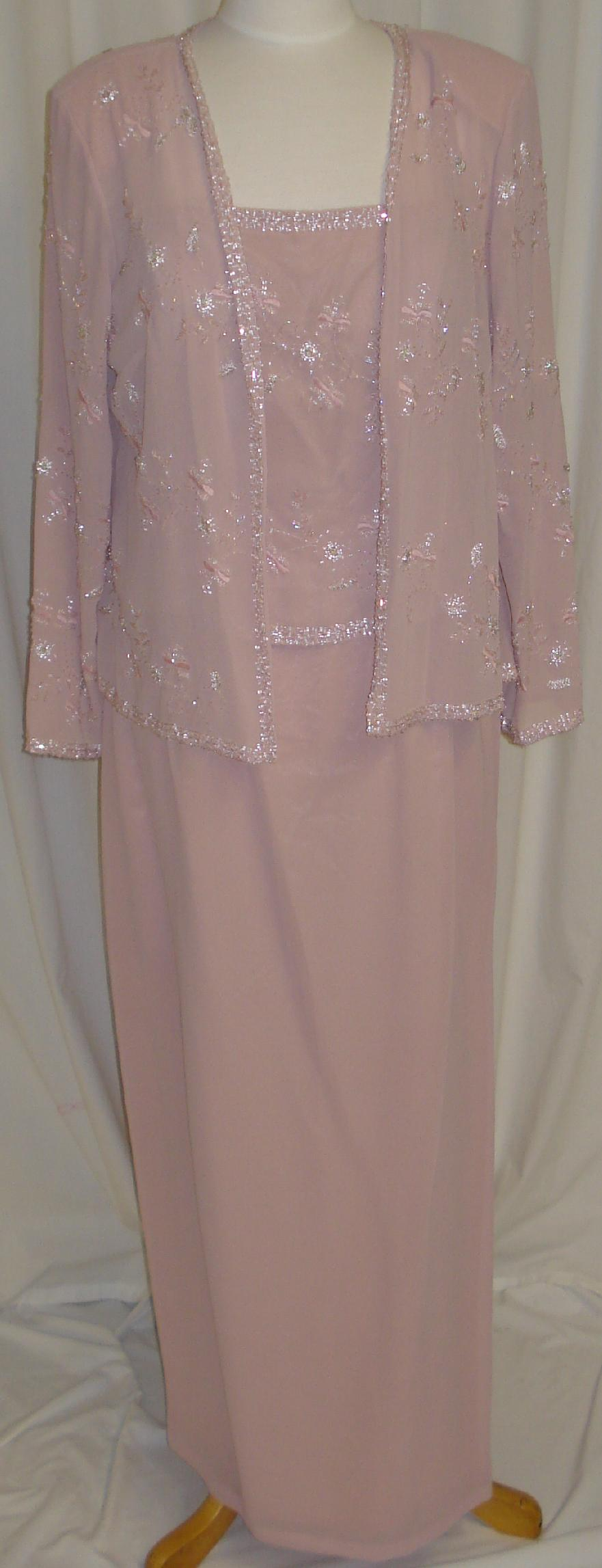 Beading Formal Gown Long Dress W Jacket Party Evening Dusty Rose 2XL