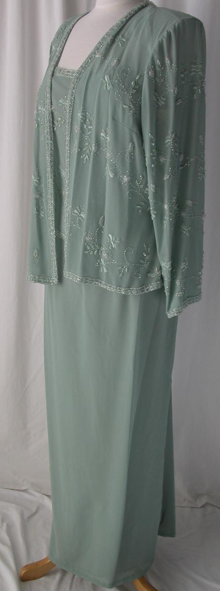 Mothers Beading Formal Gown Long Dress W Jacket Party Evening Sage