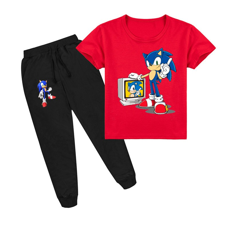 Boys Girls Sonic The Hedgehog Kids Short Sleeve T Shirt Pants Clothing Sets Ebay