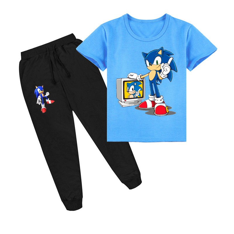 Sonic The Hedgehog Boys Girls Kids Short Sleeve T Shirt Pants Clothing Sets Ebay